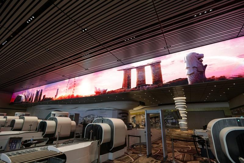 """""""Immersive Wall"""" représentant la célèbre vue de Singapour. ©Changi Airport"""