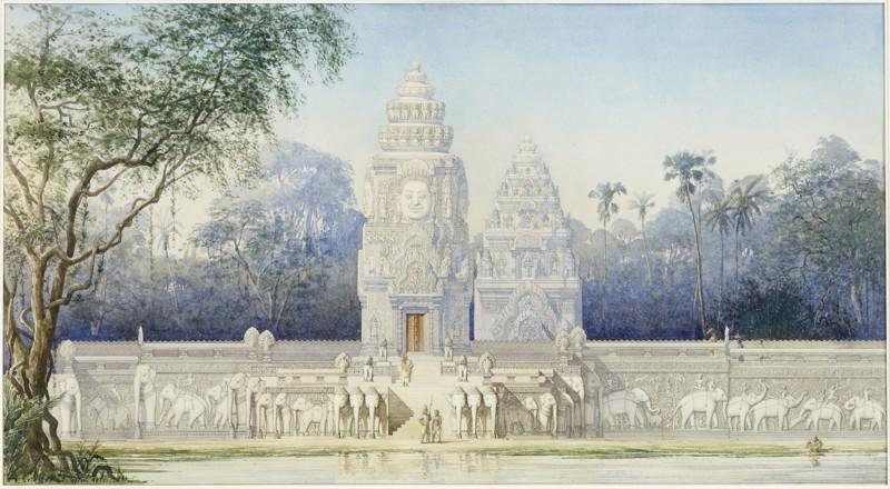 Aquarelle de Louis Delaporte qui illustre le palais des rois Khmer, Phimeanakas, au centre d'Angkor Thom. ©Musée Guimet