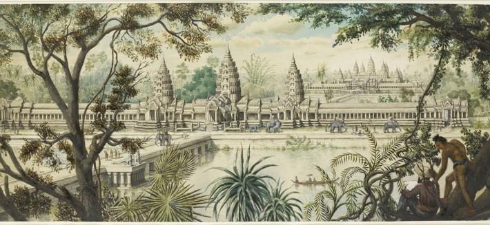 Aquarelle de Louis Delaporte de l'entrée Ouest du célèbre temple d'Angkor Wat. ©Musée Guimet
