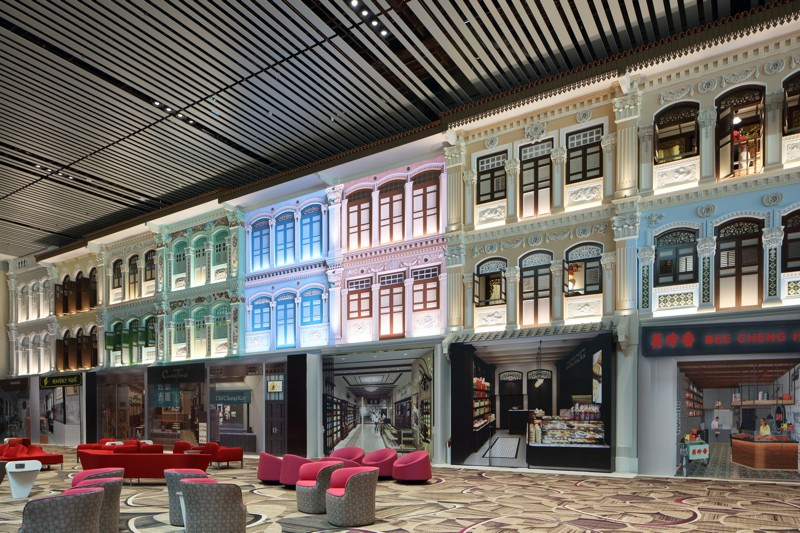 Un décor de shophouses pour une ambiance historique et nostalgique. ©Changi Airport